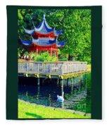 Orient Swan Pagoda Fleece Blanket
