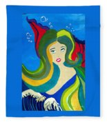 Japanese Mermaid Bubbles  Fleece Blanket