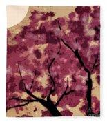 Oriental Plum Blossom Fleece Blanket