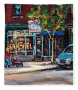 Original Art For Sale Montreal Petits Formats A Vendre Boulangerie St.viateur Bagel Paintings  Fleece Blanket