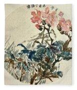 Original Chinese Flower Fleece Blanket