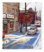 Original Montreal Paintings For Sale Tableaux De Montreal A Vendre Pointe St Charles Scenes Fleece Blanket