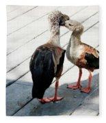 Orinoco Geese Touching Heads On A Boardwalk Fleece Blanket