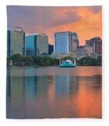 Orlando Cityscape Sunset Fleece Blanket