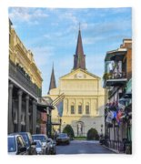 Orleans Street And St Louis Cathedral Fleece Blanket