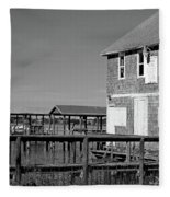 Ormond Yacht Club Black And White Fleece Blanket