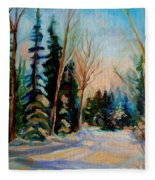 Ormstown Quebec Winter Road Fleece Blanket