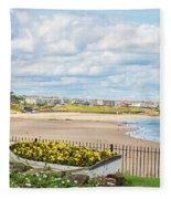 Ornamental Boat Against Tynemouth Coastline Fleece Blanket