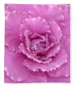 Ornamental Cabbage With Raindrops - Square Fleece Blanket