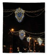 Ornamental Design Christmas Light Decoration In Madrid, Spain Fleece Blanket