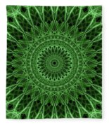 Ornamented Mandala In Green Tones Fleece Blanket