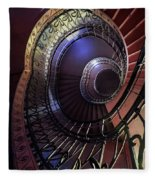 Ornamented Metal Spiral Staircase Fleece Blanket