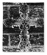 Ornate Cross 3 Bw Fleece Blanket