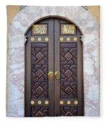 Ornately Decorated Wood And Brass Inlay Door Of Sarajevo Mosque Bosnia Hercegovina Fleece Blanket