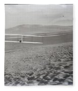 Orville Making Right Turn Showing Warping Of Wings Hill Visible In Front Of Him Kitty Hawk North Car Fleece Blanket