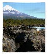 Osorno Volcano From Petrohue Falls Fleece Blanket
