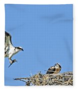 Osprey Brings Fish To Nest Fleece Blanket