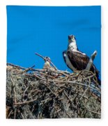 Osprey With Chicks Fleece Blanket