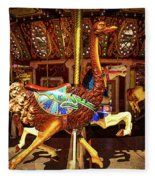 Ostrich Carousel Ride Fleece Blanket