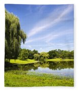 Otsiningo Park Reflection Landscape Fleece Blanket