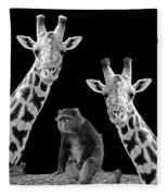 Our Wise Little Friend - Monkey And Giraffes In Black And White Fleece Blanket