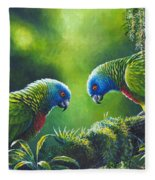 Out On A Limb - St. Lucia Parrots Fleece Blanket
