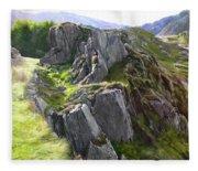 Outcrop In Snowdonia Fleece Blanket