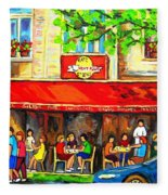 Outdoor Cafe On St. Denis In Montreal Fleece Blanket