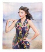 Outdoor Fashion Portrait. Spring Twilight Beauty Fleece Blanket