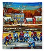 Outdoor Hockey Rink Fleece Blanket