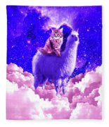 Outer Space Galaxy Kitty Cat Riding On Llama Fleece Blanket