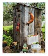Outhouse In The Garden Fleece Blanket