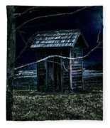 Outhouse In The Moonlight With Flying Crows Fleece Blanket