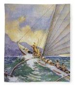 Outrigger At Sea Fleece Blanket
