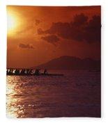 Outrigger Canoe At Sunset Fleece Blanket
