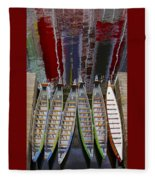 Outrigger Canoe Boats And Water Reflection Fleece Blanket