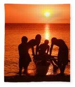 Outrigger Sunset Silhouet Fleece Blanket