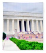 Outside The Lincoln Memorial Fleece Blanket