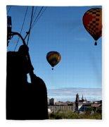 Over Auburn And Lewiston Hot Air Balloons Fleece Blanket
