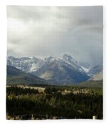 Over The Fence To Dusted Mountains Fleece Blanket