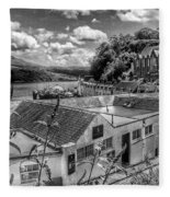 Over The Rooftops At Portree In Greyscale 2 Fleece Blanket