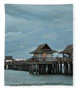 Clouds Over The Naples Pier Fleece Blanket