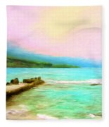 Overcast Sunset At Napoopoo Beach Park Fleece Blanket