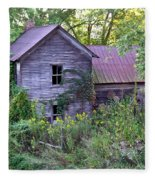 Overgrown Abandoned 1800 Farm House Fleece Blanket