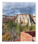 Overlook In Zion National Park Upper Plateau Fleece Blanket