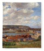 Overlooking The Town Of Dieppe Fleece Blanket