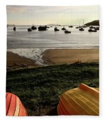 Overturned Boats On Shore Of Harbor Fleece Blanket