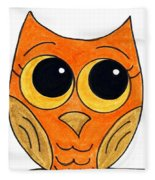 Owl And Bee Fleece Blanket