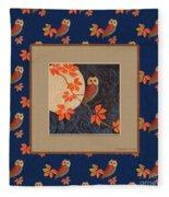 Owl And Moon On Midnight Blue Fleece Blanket