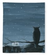 Owl And The Moon Fleece Blanket